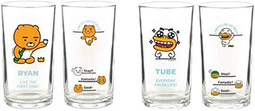 Mini Clear Glasses For Alcohol Drinks Set of 4(soju beer glass 소맥잔),Korean Soju Shot Glasses Set Character Soju Beer Glass, Best Gift For Party, Dishwasher Safe Clarity Glassware, Korean Gift