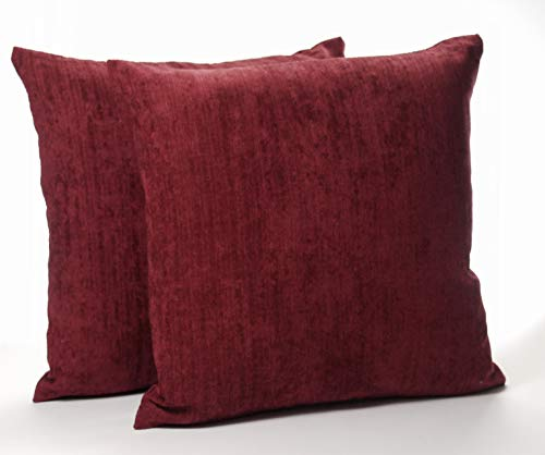 A Pair of 16in x 16in Classic Plain Chenille Cushion Covers in Burgundy (Red)