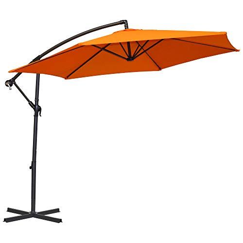 MACOShopde by MACO Möbel Ampelschirm Ø 300 cm orange sechseckig, Sonnenschirm mit Aluminium Gestell, Bespannung Wasserabweisend 160g/m2 Polyester, 12 kg