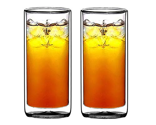 Sun's Tea(tm) 16oz Ultra Clear Strong Double Wall Insulated Thermo Glass Tumbler Highball Glass for Beer/cocktail/lemonade/iced Tea, Set of 2 (Made of Real Borosilicate Glass, Not Plastic)