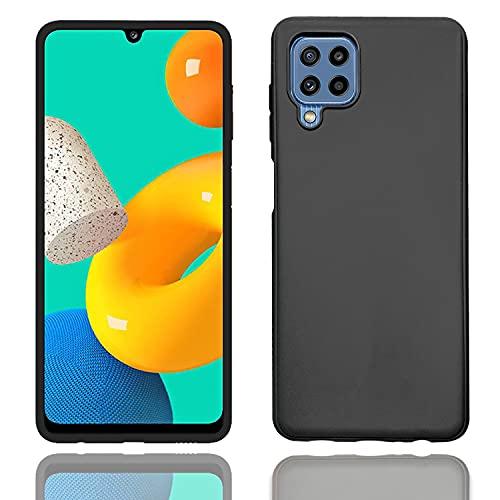POPIO Back Cover Case for Samsung Galaxy F22 (Black), Corner Protection, Plain Matte/Velvet Textured Finish Black
