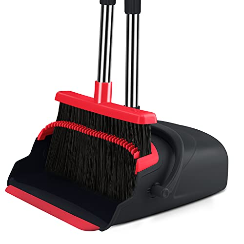 Broom and Dustpan set Large Size Dust pan and Stiff with 55.9 inch Long Handle, Stainless Steel Extra Long Handle Broom Is Easy To Clean And Assemble, Durable And Foldable For Home,, Office, Lobby Use