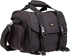 AmazonBasics Large DSLR Camera Gadget Bag - 11.5 x 6 x 8 Inches, Black And Orange