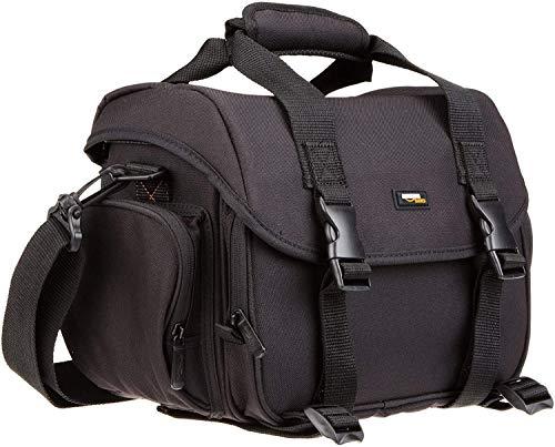 Amazon Basics - Große L Umhängetasche für SLR-Kamera & Zubehör, schwarz mit orange Innenausstattung