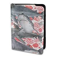 パスポートカバー サメに乗る猫 パスポートホルダー パスポートポーチ 旅行パスポート 航空券チケット ウォレットケース パスポートケース トラベルウォレット 高級puレザー 多機能収納ポケット エアチケット 通帳ケース 14*10cm