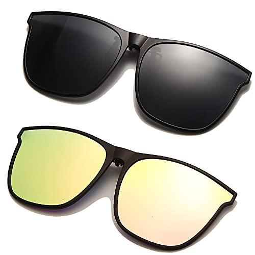 Long Keeper Gafas de sol polarizadas con clip en las gafas de sol para hombres y mujeres, marco grande con clip para conducir y pescar al aire libre, Dark Grey+pink, Large