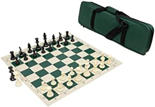 Heavy Tournament Triple Weighted Chess Set Combo - Forest Green
