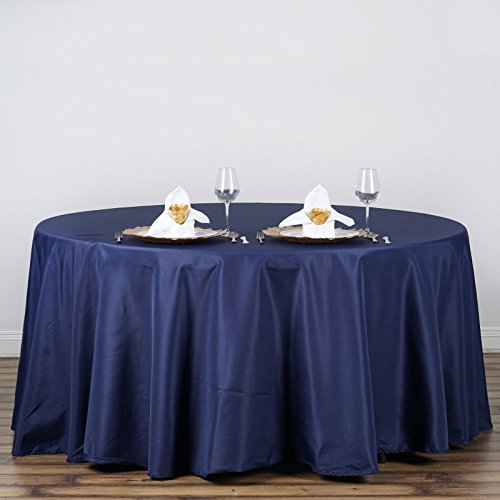 LinenTablecloth 120-Inch Round Polyester Tablecloth Navy Blue