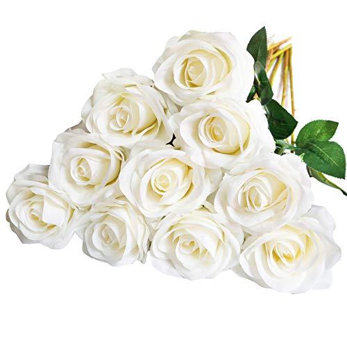 10 rosas falsas flores de seda artificiales de flores de imitación de rosas largas para arreglos de boda, centro de mesa, fiesta, hogar, cocina, decoración (blanco roto tallo largo)