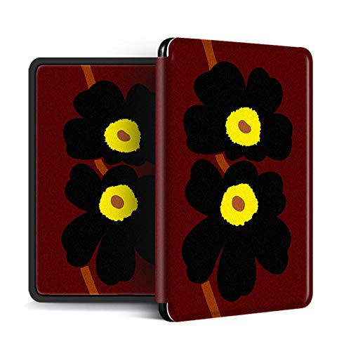 Funda para Kindle Paperwhite,Compatible con Kindle Paperwhite 4 Carcasa Trasera para Kindel Paperwhite 2019 Auto Sleep/Wake Smart Cover Flores Negras Simples Impresas En Color Café, para No.Pq94Wif