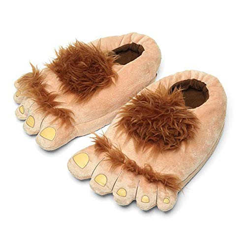 Ibeauti Men's Big Feet Furry Monster Adventure Slippers, Comfortable Novelty Warm Winter Hobbit Feet Slippers for Adults (Men: US 11) Brown