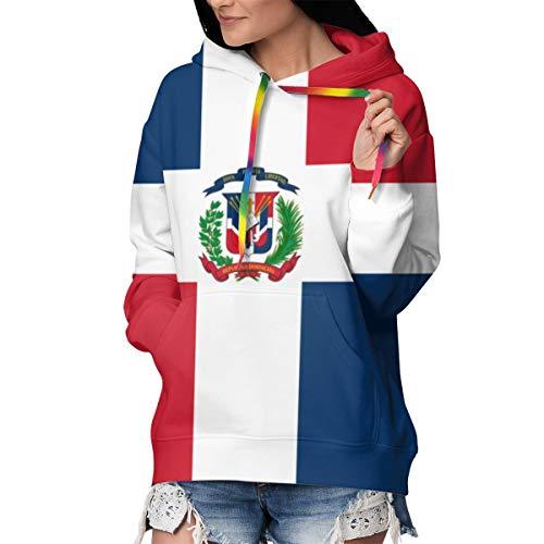 Sudadera con Capucha para Mujer, Manga Larga, con Bolsillos, cálida, Suave, cómoda y elástica, Bandera de la República Dominicana