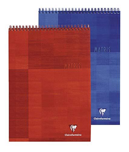 Clairefontaine 8152C Spiralblock DIN A4, kariert, 80 Blatt, ideal für Ihre Notizen, 1 Stück, farbig sortiert