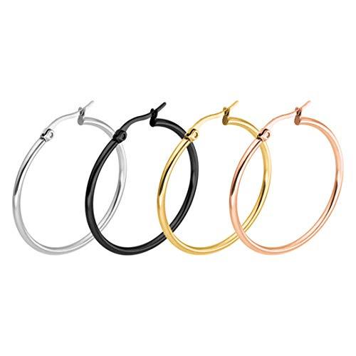 Pendientes de aro grandes de moda para mujer Pendientes de lazo de acero inoxidable de círculo liso grande 10mm Multicolor