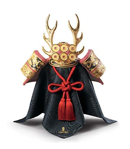 LLADRÓ Figura Casco Samurái Rojo. Lustre Oro. Figura Samurai de Porcelana.