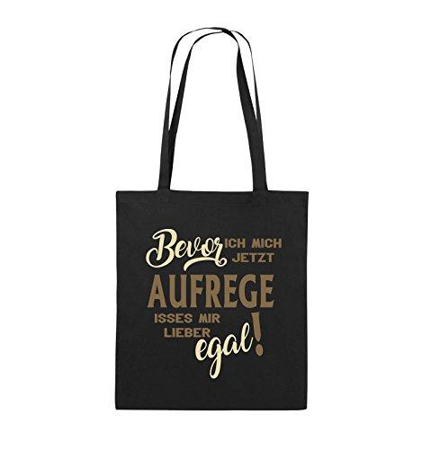 Comedy Bags - Bevor ich Mich jetzt Aufrege isses Mir Lieber egal! - Jutebeutel - Lange Henkel - 38x42cm - Farbe: Schwarz/Hellbraun-Beige