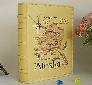 Professional Alaska Map Pu Leather Vintage Photo Album Of 6 Inch 4d Family Wedding, Photo Leather - Vintage Photo Black Pages, Rustic Leather Photo, Leather Photo, Tooled Leather Photo Albums