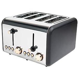 Salter EK3352RG 4-Slice Toaster, 1500 W, Rose Gold | Variable Browning, Wider Slots, Defrost/Reheat Functions