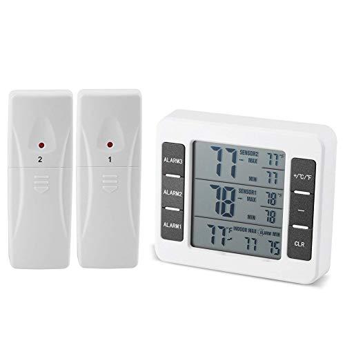 Termómetro digital para refrigerador, alarma inalámbrica digital audible para frigorífico, congelador, termómetro con 2 sensores de pantalla mín/máxima.