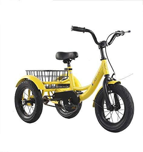 Bicicleta Infantil Triciclo Bicicleta de 3 Ruedas con Cesta Trasera, niño de Acero con Alto Contenido de Carbono, Bicicleta, Asiento cómodo, Altura Recomendada 85-115 cm, Peso del Triciclo 100 kg