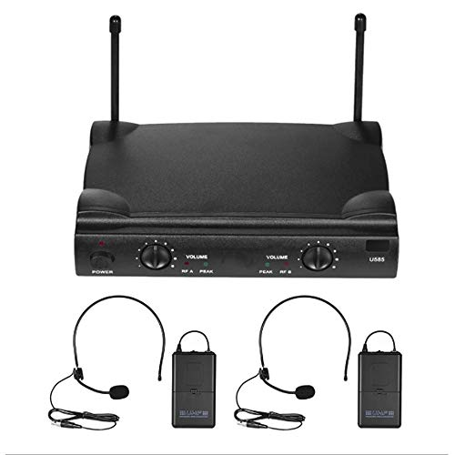 Draadloze Microfoon Systeem, Karaoke Microfoon Set Met 2 Body-Packs Met 2 Headset Microfoons, 120M Stable Signaaloverdracht Voor Meeting, Toneel, Kerk