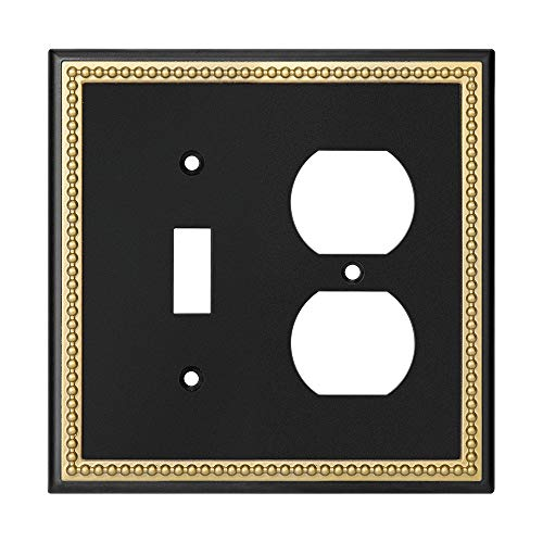 Pearled Frame Decorative Wall Plate Switch Plate Outlet Cover (Toggle/Duplex, Matte Black & Dark Golden)