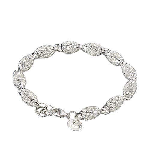Washranp Pulsera elegante antioxidante mujeres niñas plata plateada hueco bola brazalete cadena para viajar