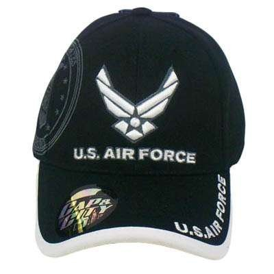 Cap & City US AIR Force Military Seal Licensed Black White Hat Cap by