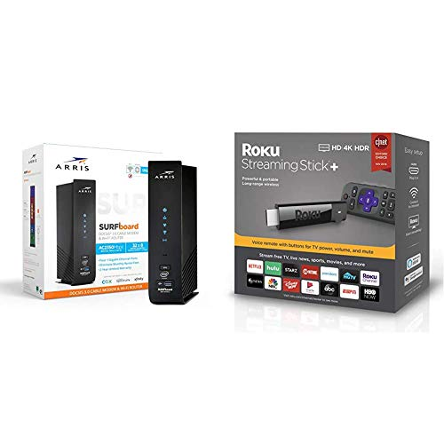 ARRIS Surfboard SBG7600AC2 DOCSIS 3.0 Cable Modem & AC2350 Dual-Band Wi-Fi Router & Roku Streaming Stick+ | HD/4K/HDR Streaming Device with Long-Range Wireless and Voice Remote with TV Controls