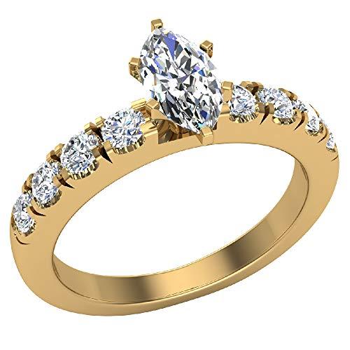 Glitz Design Damen Kinder Herren Unisex - Gold 18 Karat (750) 18 Karat (750) Gelbgold Markise Runder Brilliantschliff Hochfeines Weiß/River (E) - Feines Weiß +/Top Wesselton (F) Diamant