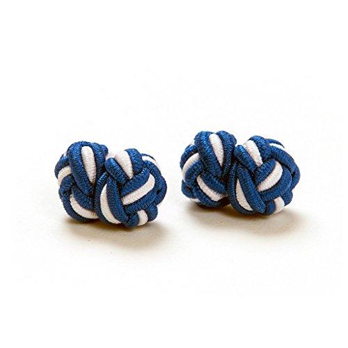 1 Paar Manschettenknöpfe Seidenknoten Knoten Knötchen blau, weiß Bayern zweifarbig hochwertig Stoffknoten Cufflinks Gentleman Umschlagmanschette Manschette dehnbar London Style