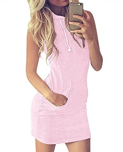 Eledobby Robe à Capuche Femmes d'été Hoodies T-Shirt sans Manches Long Casual Drawstring Tops Dames Mode Robes à Capuche Élégant Lounge Wear Vêtements Rose XL