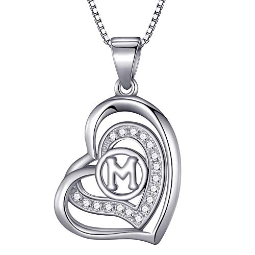 Morella Collana donna a forma di cuore lettera M con zirconi bianchi 46 cm argento 925 rodiato