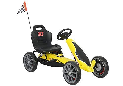 Lean Toys Gokart Ferrari - Vehículo infantil (42 kg), color amarillo