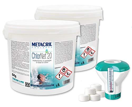Chlor Net 20 (10 kg) + Dosificador flotante con termómetro. Metacril Cloro...