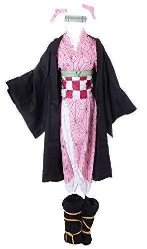 Kawaii-Story MN-107 Nezuko Kamado Demon Slayer Schwarz Rosa Japan Kimono komplett Set Kostüm Anime Manga Cosplay (L)