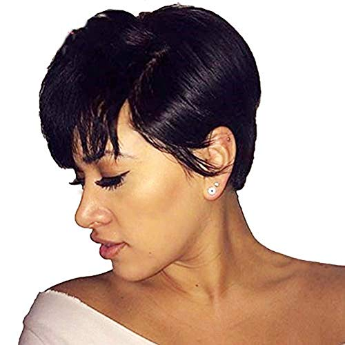 Kaneles Short Pixie Cut Wigs for Black Women Short Straight Black Ladies Wigs Synthetic natural hair with Bangs Wigs 1B Color
