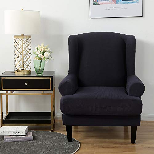 Youjoy Stretch Wingback Chair Slipcover 2-Piece Sofa Cover Furniture Protector Couch with Elastic Spandex Fabric Armchair Chair Slipcover,Navy