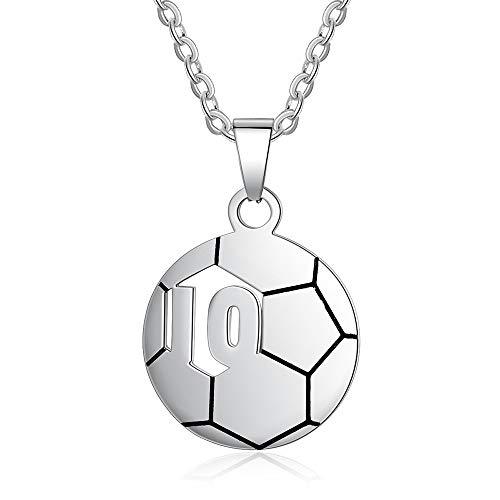 JewelOra Collar Personalizado con Nombre para niños Colgante de fútbol con el número 10 o 23 Regalo de joyería Personalizado para Hijo niños niños pequeños en cumpleaños Navidad (Number 10)