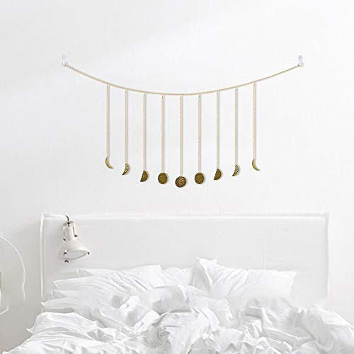 Symina Boho Metal Sun Moon Hanging Ornaments Moon Phase Garland with Chains Celestial Wall Phases Wall Hanging Ornaments Wall Decors for Home Office Nursery Room Dorm, Gold (Gold,HHM0159-02)