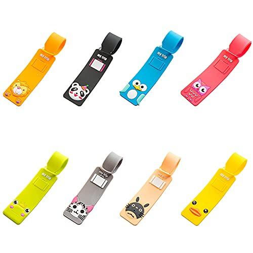 kpysit carta di etichette per bagagli, Etichetta della valigia, 8 carte dimbarco in silicone cartone animato, anatra gialla + cincillà + gatto formaggio + rana + pinguino + gufo + panda + leone