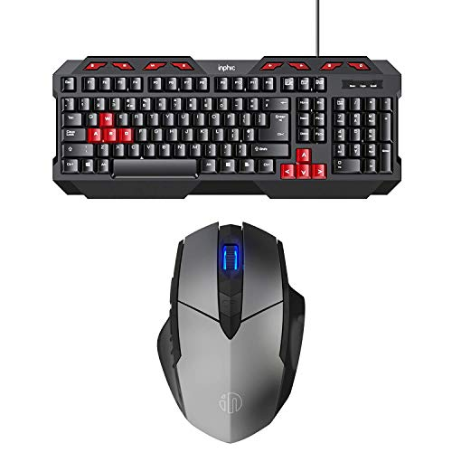 INPHIC Keyboard and Mouse Bundle,Wired Keyboard (US\UK Layout), Gaming Layout,Silent Key, Rechargeable Bluetooth Mouse for Windows,Computer