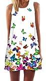 Ocean Plus Mujer Verano A Líneas Sin Mangas Retro Estampado Floral Vestidos Oscilación Corto Casual Vestidos de Playa Mini Vestido (L (EU 38-40), Mariposa Colorida en Blanco)