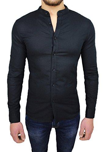 Camicia Uomo Sartoriale Nera in Lino Slim Fit Casual Elegante (s)