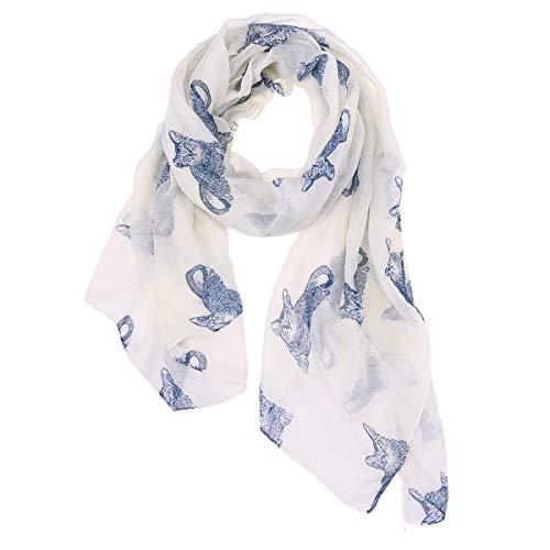 FENICAL Bufanda Gato Hilado Bufanda Decoración Gatito Impreso bufanda de seda para mujeres niñas (blanco)