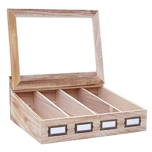 Mendler Besteckkiste HWC-C25, Holzbox mit Deckel Besteckkasten, Paulownia 17x37x33cm ~ naturbraun