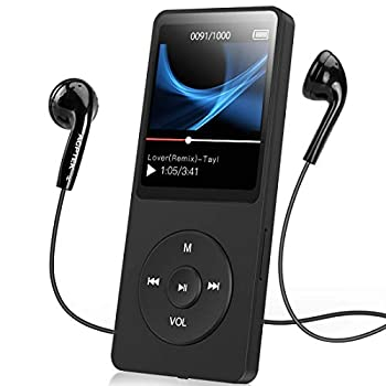 AGPTEK A02S 16GB MP3 Player with FM Radio Voice Recorder 70 Hours Playback and Expandable Up to 128GB Black