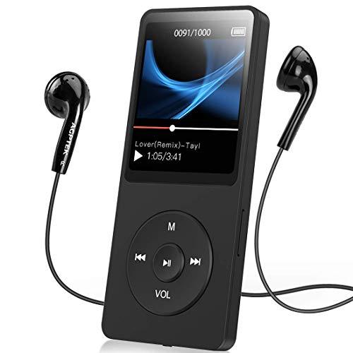 AGPTEK 16GB MP3-Player 70 Stunden Wiedergabe, Schwarz