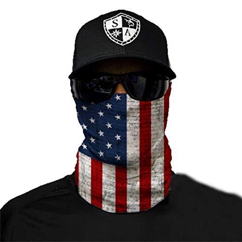 SA Fishing - hochwertiger Gesichtsschutz, Multifunktionstuch aus Stoff mit LSF 40, Schutzmaske, American Flag