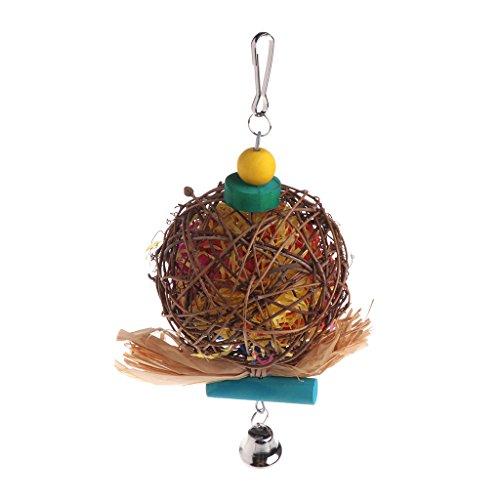wiffe Papagei Vogel Bambus Rattan Play Spielzeug Glocke Bite Kauen Streifen Colorful Aufhängen Käfig